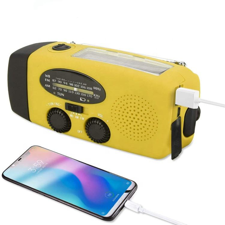 5 in 1 Emergency Solar Crank AM FM Radio Flashlight with 1000mAh Power Bank Portable Outdoor SOS alarm Reading Lamp for Iphone