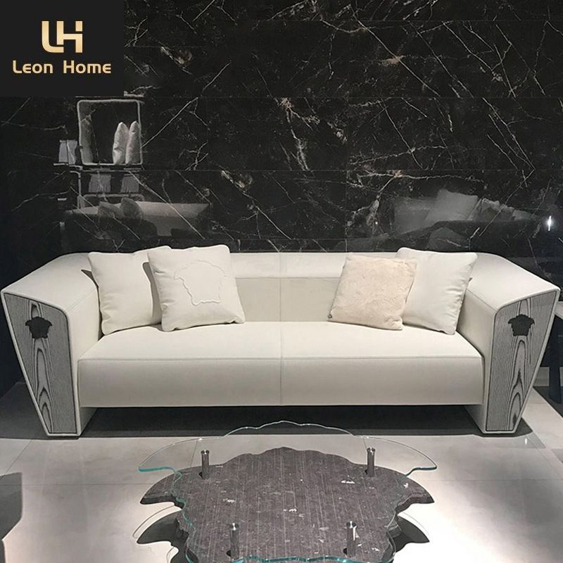 Italian fashion brand luxury living room furniture modern design Varsace white leather sofa