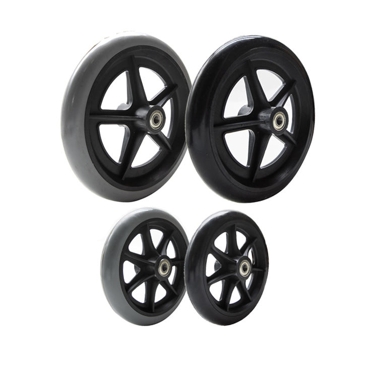 JQ Caster Low price 6'' 8'' pvc solid front wheel for electric wheelchair