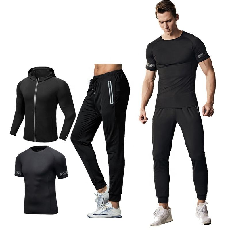 Men's Dry fit T-shirt Gym Running Shorts Capri Leggings 3Pcs Fitness Jogging Sets for Men