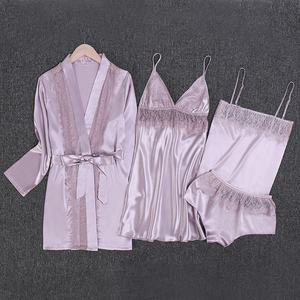 Lace Trim Pajama Sets Satin Night Wear Suits Sexy 4 Pieces Women Lounge Wear