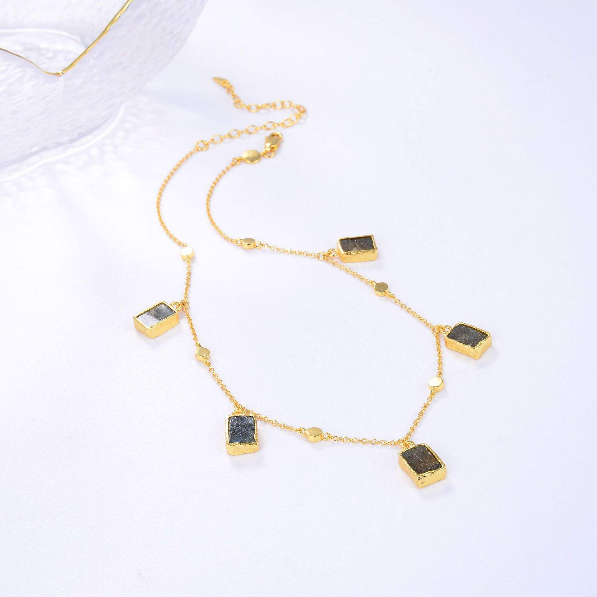 Original 925 Sterling Silver 18K Gold Plated Gemstone Pendant Choker Necklace