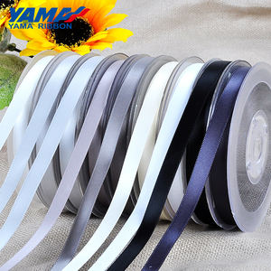 YAMA Satin Ribbon Roll Polyester Double Faced Black White 16mm RIBBONS 100% Polyester Solid Color