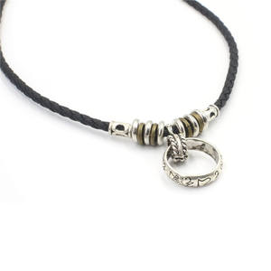Bohemian Alloy Ring Pendant Leather Necklace for Men