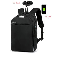business travel school waterproof black smart backpack bag men's USB battery charging anti-theft laptop backpack with usb port