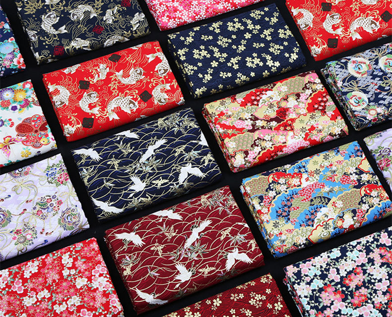 Hot Stamping Fabric Cotton Best Selling Brocade Fabric Bronzing Japanese Style for Garment Kimono