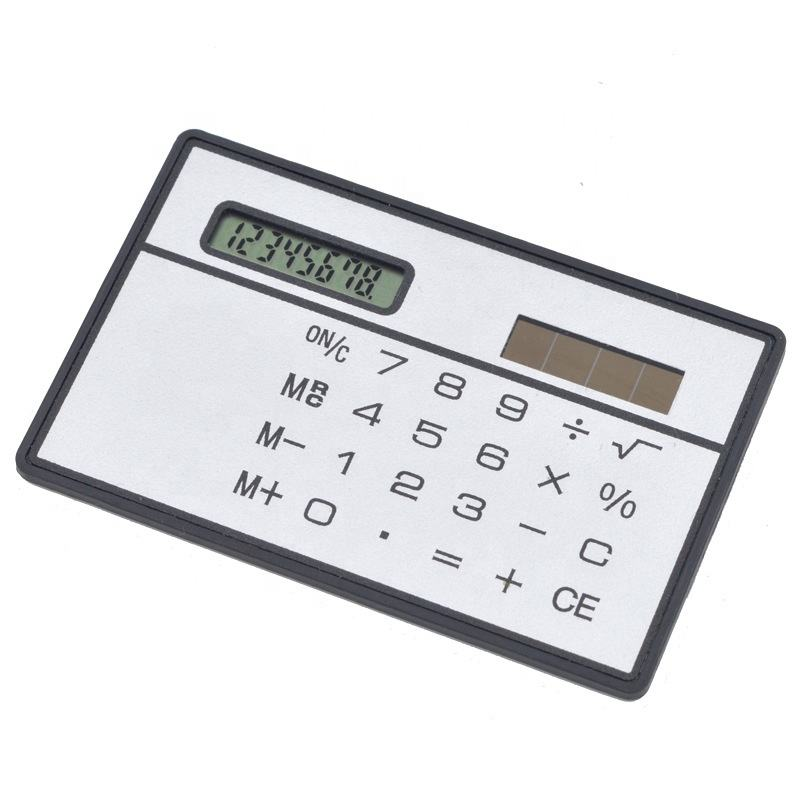 Promotional bank card size calculator Ultra Thin Slim Small Credit Card 8 digit Solar Power Business Pocket electric calculator