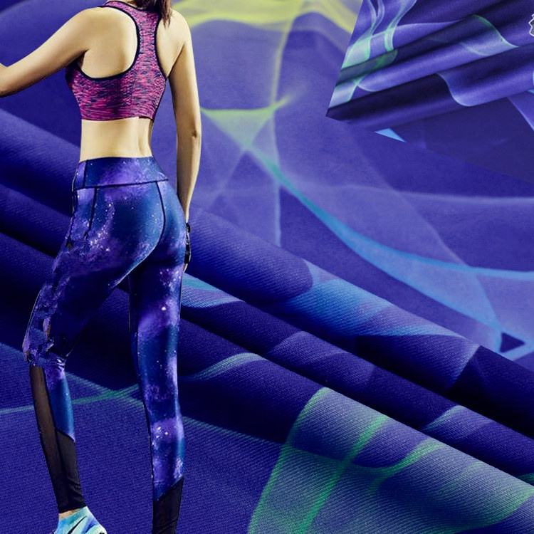 Eco-friendly wicking Quick Dry Fit Breathable Recycled Polyester Spandex Fabric Knit Fabric for Yoga sport wear