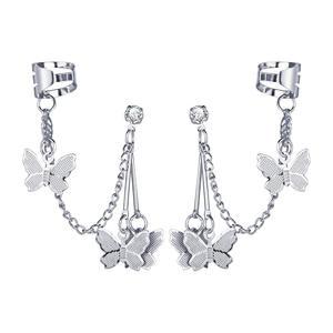 Fashion Girl Heart Fairy Butterfly Chain Earrings Clip For Integrated Ear Bone Jewelry