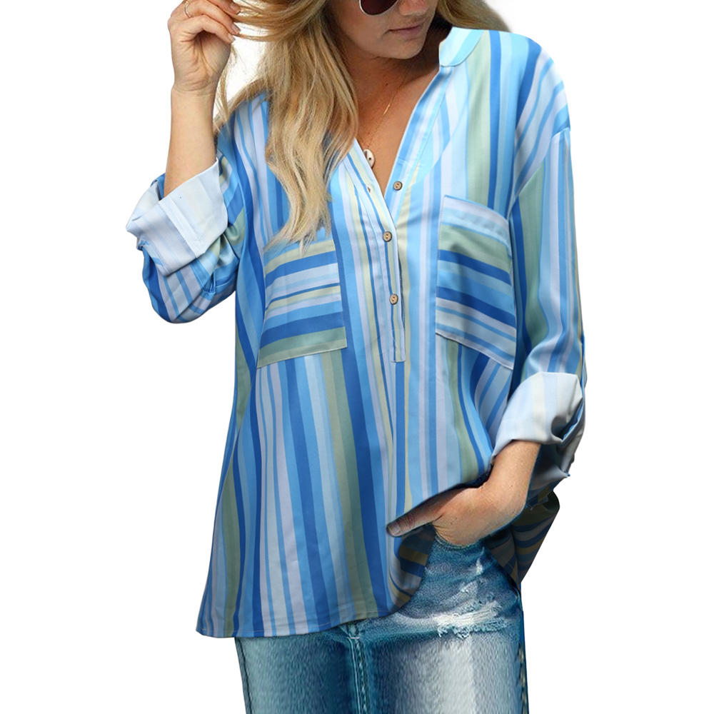 Ladies autumn new fashion shirt multi-color striped top V-neck rolled up long-sleeved casual loose blouse