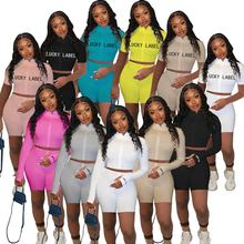 2021 Hot Sell Trending Long Sleeve Summer 2 Pieces Set Lucky Label Two Piece Pants Set Sweat Suits Two Piece Shorts Set Women
