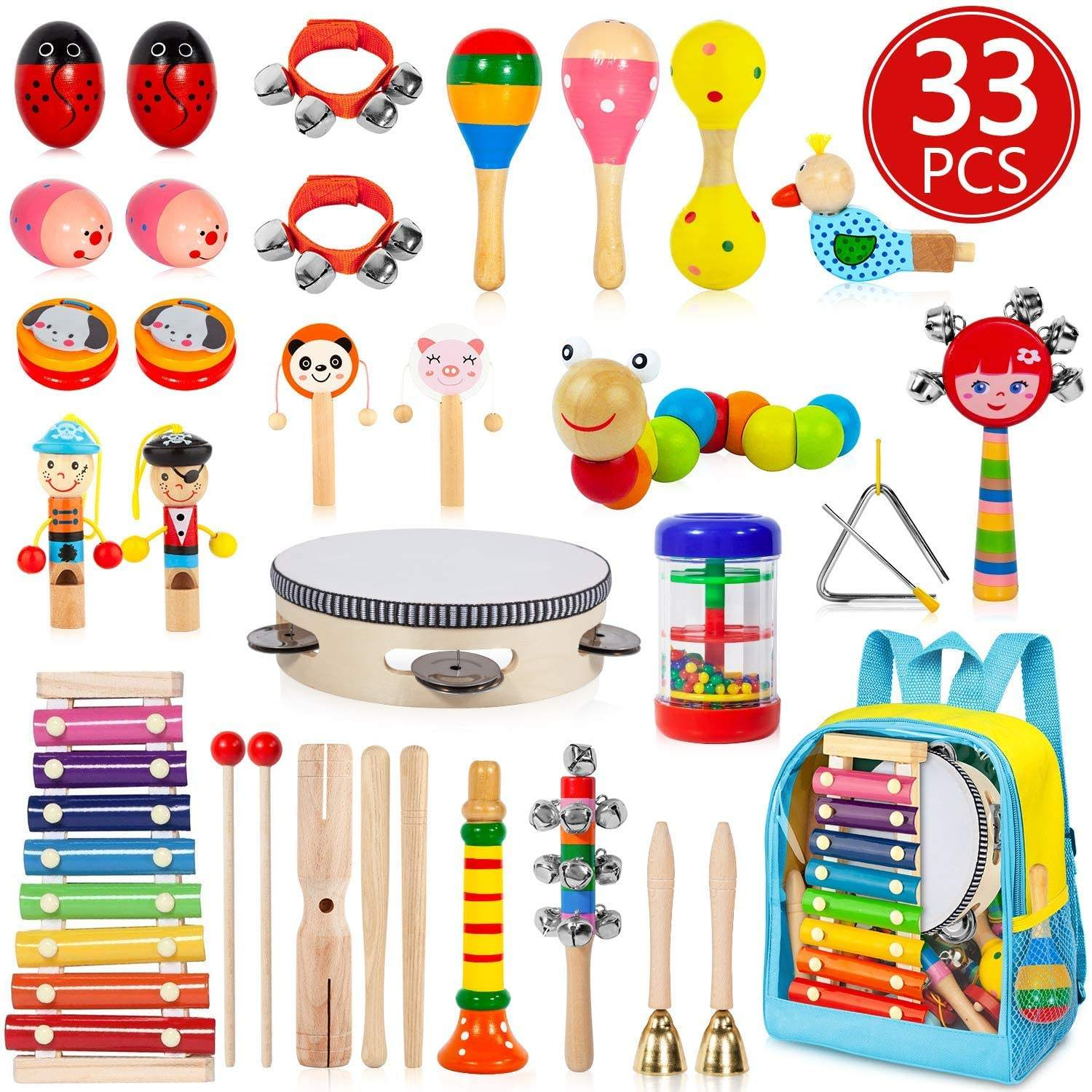 Kids Musical Instruments, 33 PCS 20 Types Wooden Instruments Tambourine Xylophone Toys for Kids Children, Preschool Educational