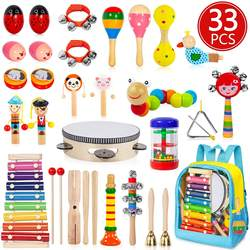 Kids Musical Instruments, 33 PCS 20 Types Wooden Instruments