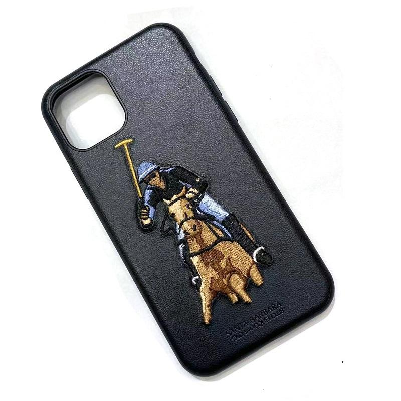 POLO Bordado Originais 12Pro Anti Queda de Couro de Volta Caso para o iphone Caso Do Telefone Móvel para O Iphone 11Pro Max ZY-285