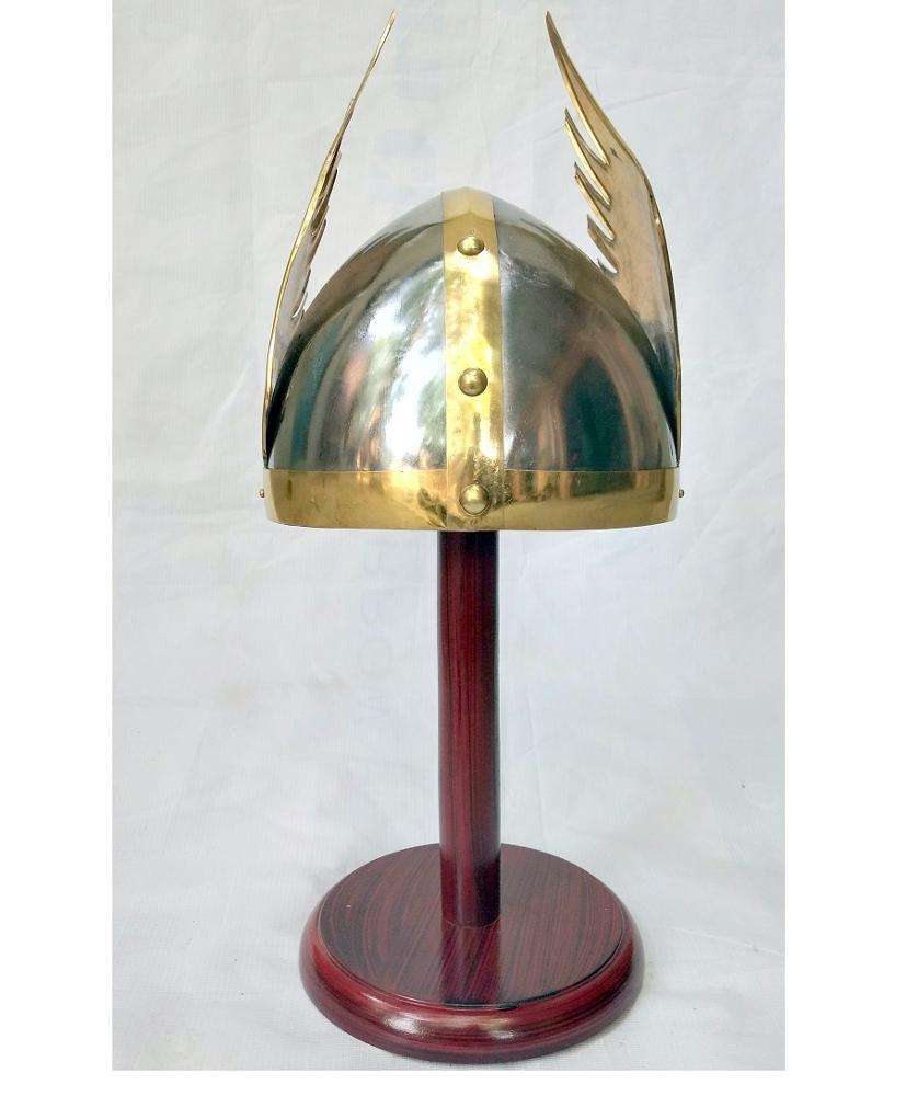 Medieval Viking Helmet With Brass Wing and Leather Liner Perfect Cosplay Helmet Life Size Helmet Reproduction