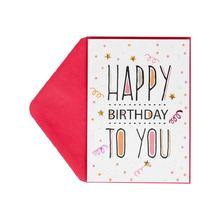 Hotsales Confetti Foil Letter Birthday Cards, Custom Printing Handmade Greeting Cards with Sequins