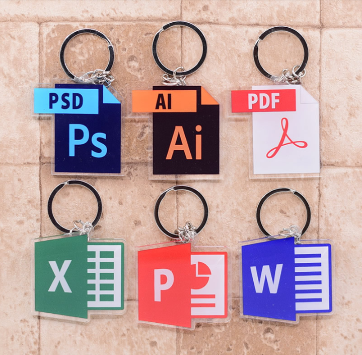 Software Acrylic Keychain Word Excel Photoshop AI Adobe Design Keyring Custom Design Women Jewelry Men Boy Bag Accessories