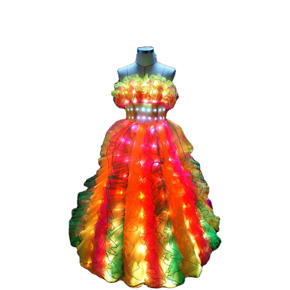 WL-006 LED Classic Long Wedding Dress LED Party Dance Costumes Rave Clothes Performance wear Flamenco Dance Dress carnival dress