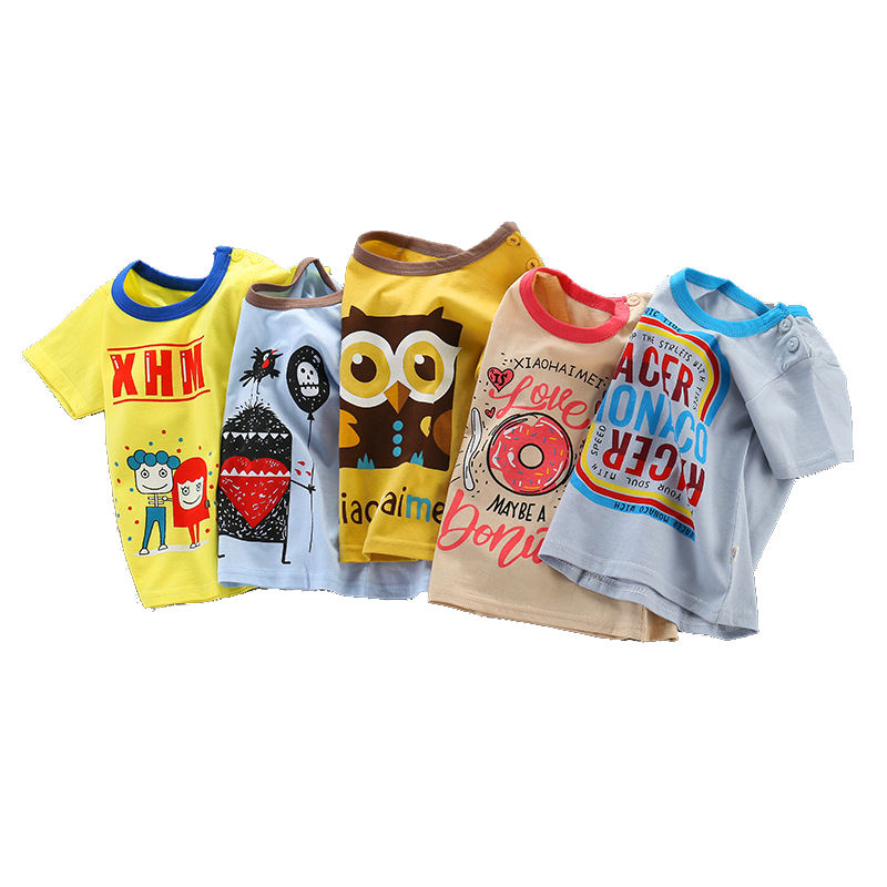 Summer Children's Short Sleeve T-shirt Pure Cotton Korean Design Boy's Girl's Half Sleeve Factory Direct Price