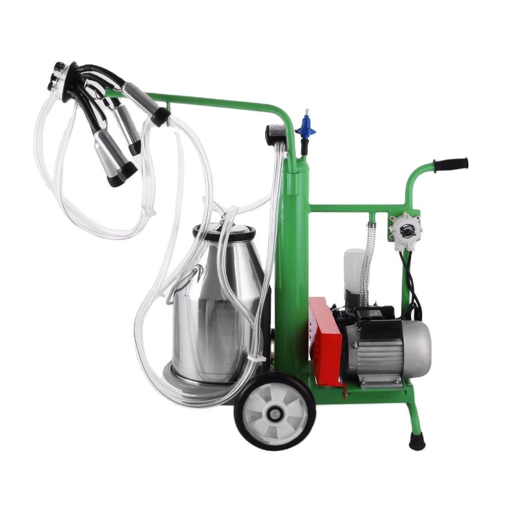 New Electric Milking Machine Automatic Vacuum Piston Pump 25L Bucket For Farm Cows