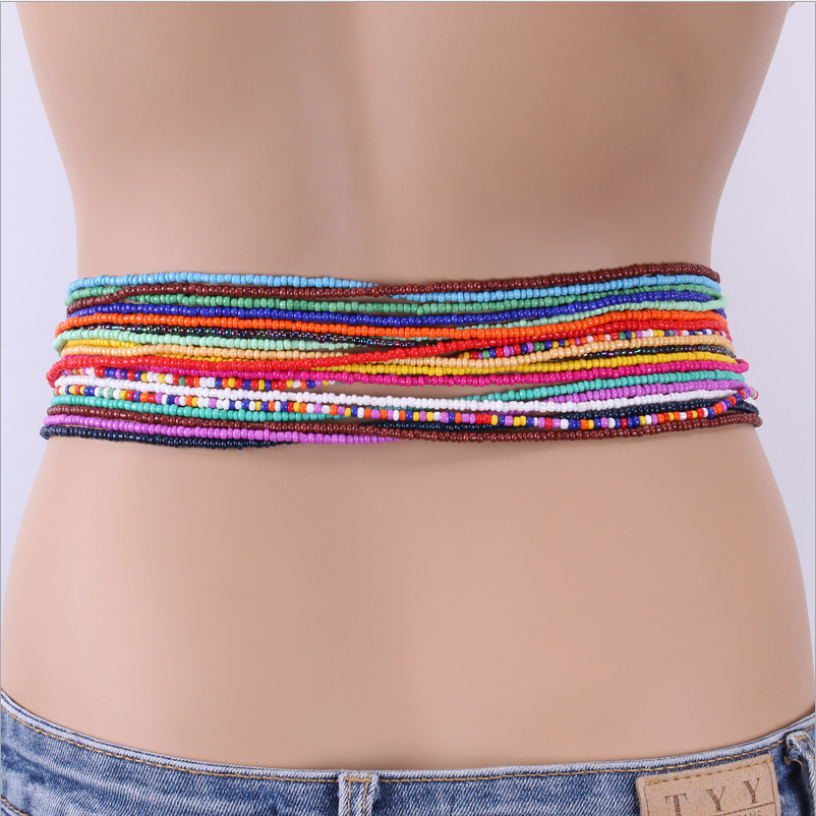 Factory direct sale Newest latest design African Ghana Bohemia Belly Chain Elastic Waist beads Chain For Women