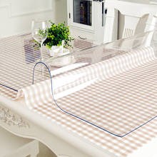 Waterproof PVC Transparent Table Cover Mat Kitchen Pattern Oil cloth Glass Soft Cloth Tablecloth 1.0m