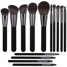 amazon hot selling high quality black kabuki cosmetic brushes custom logo super soft hair 14 pcs makeup brush set
