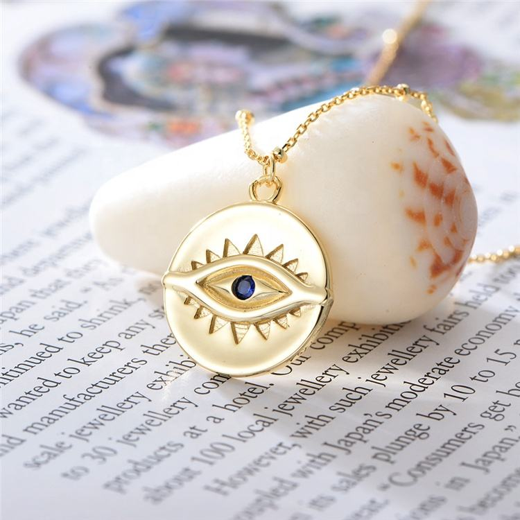High End 925 Sterling Silver Vintage Gold Plated Blue Evil-Eyes Round Coin Pendant Necklace For Women Jewelry