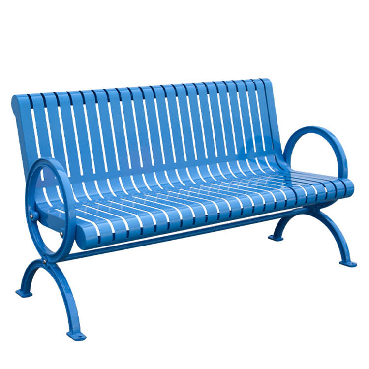 Factory Wholesale Outdoor seating garden modern steel bench garden metal bench with backrest street furniture bench for sale