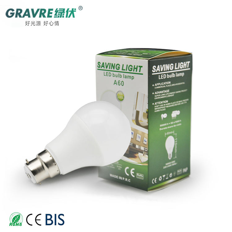 A60 9W Led-lampen Licht Lamp Energiebesparing Grondstof 7W E27 Aluminium Led Lamp
