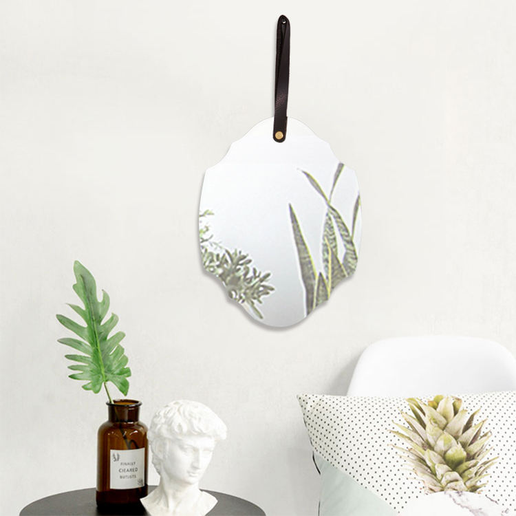 Well Beveled Feather Hanger Water Drill Single Irregular Small Decor Wall Mirror