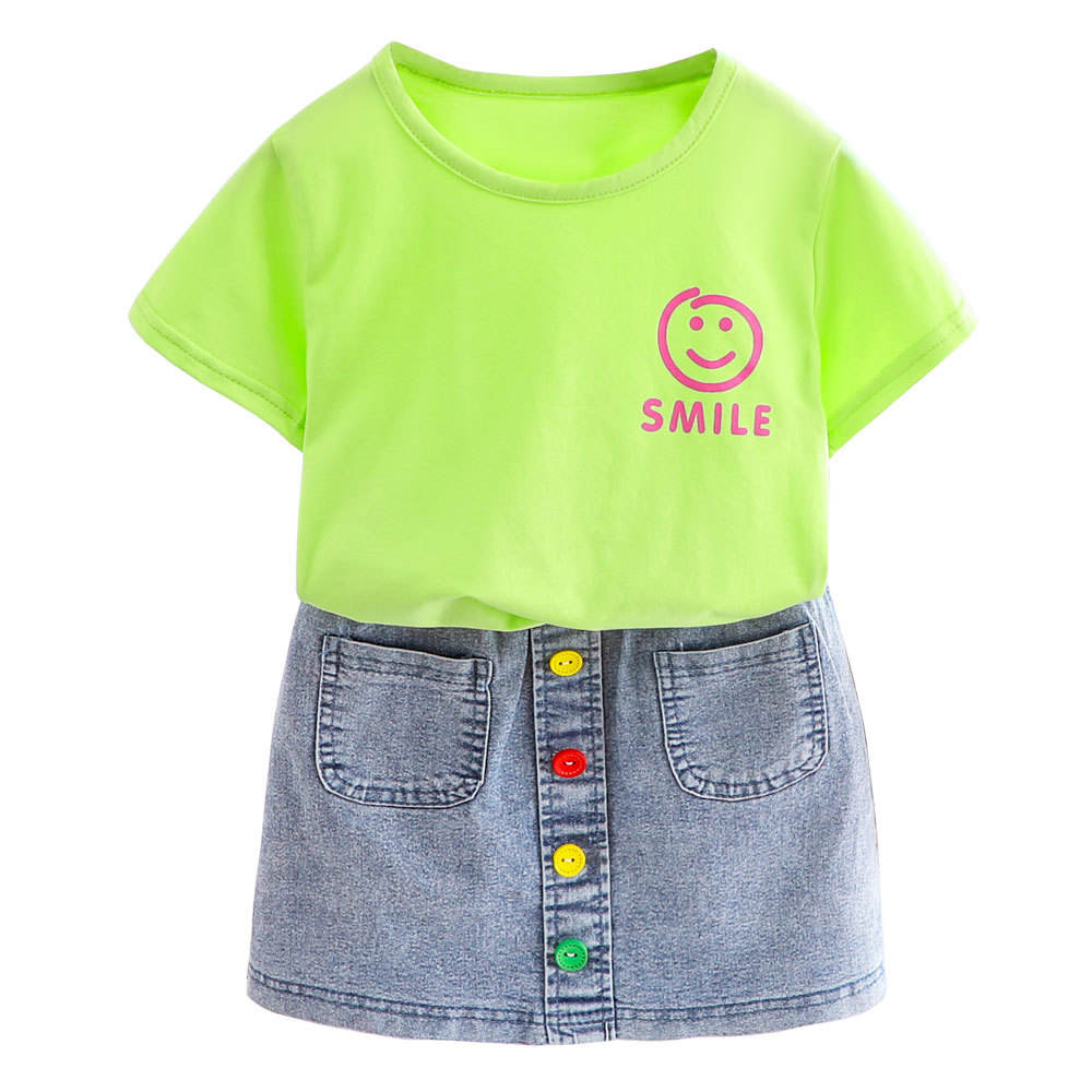 Kids Two Piece Sets Girls Smile Short Sleeve Denim Skirt Sets Cute Baby Girls' Clothing Sets Summer