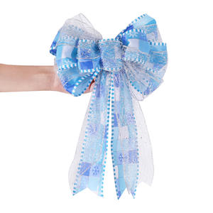 Christmas Blue Double Bow Party Glitter Pull Butterfly Bows Wedding Events Birthday Decoration Christmas Gifts Decor
