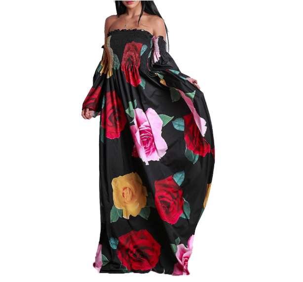 Fashion womens sexy summer spring floral printed casual+dresses long sleeve vestidos robe maxi dress