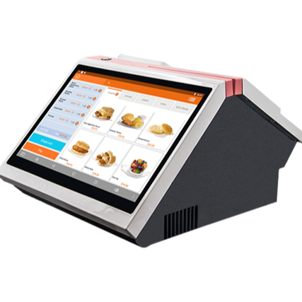 All in one POS systems 14.1 inch capacitive touch screen dual display with built-in 80mm printer.