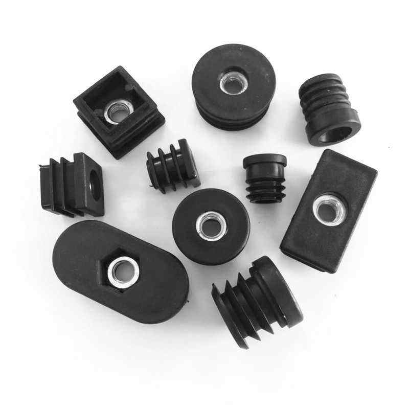 Round Plastic Insert Cap Tube End Cover With Thread Nut /plastic end caps for steel tube/Black Plastic Furniture Leg hole Plug