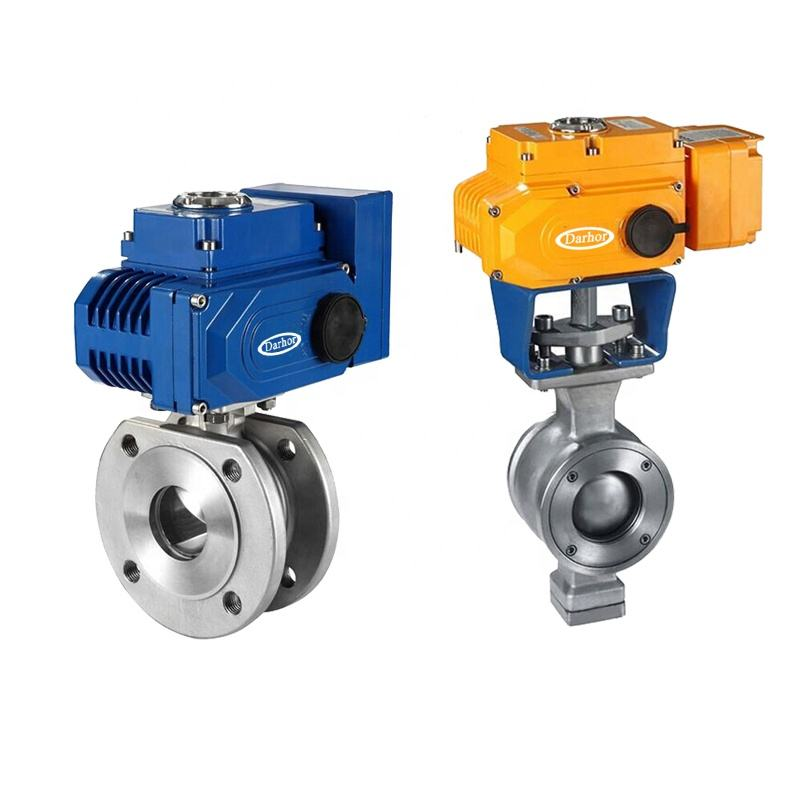 DHBV-EV Electric V type Ball Valve WCB Wafer connection SS304/SS316/SS316L