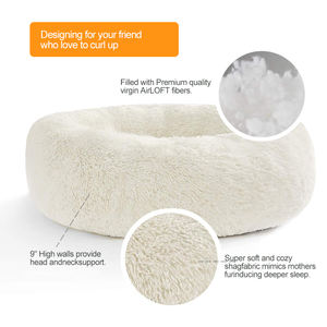 Multiple Sizes Original Calming Shag Vegan Fur Donut Cuddler Pet Cat Bed Flush Luxury