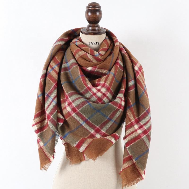 New muti colors stock large square winter cape oversize acrylic plaid blanket scarves