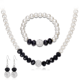 Classic simple design black white fashion beads pearl jewelry silver plated necklace earrings bracelet three piece jewelry sets