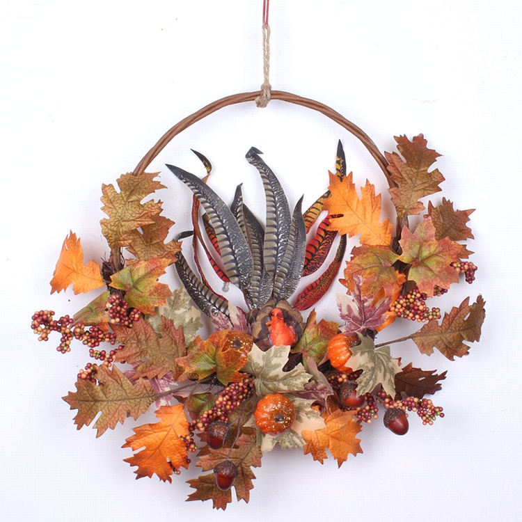 Fall Harvest Decorations Autumn Artificial Maple Leaf And Berry Ornaments Wreath For Front Door Window Decor