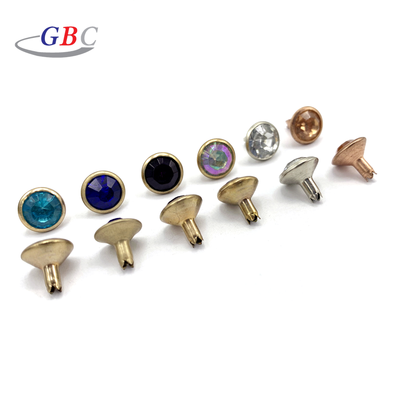 Factory wholesale metal rhinestone button rivet for leather garment shoe and bag