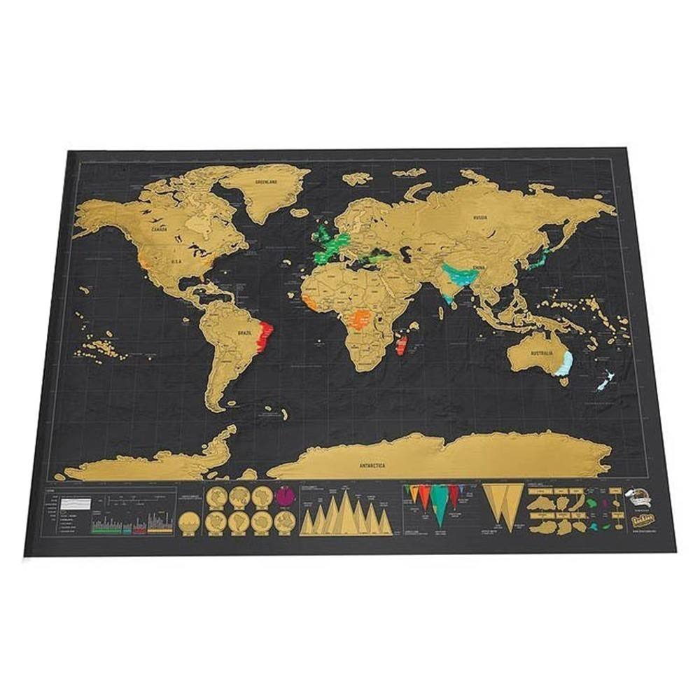 hot selling customized deluxe black scratch off world map 42x30cm gift world map with US States and Canada State