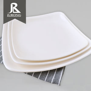 Wholesale restaurant melamine white plastic cheap bulk melamine square dinner plates