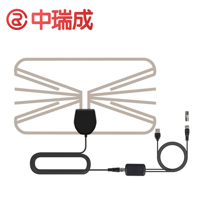 Factory Price Ultra Thin Transparent DVBT HDTV Indoor Adapter Coax Cable Digital TV Antenna