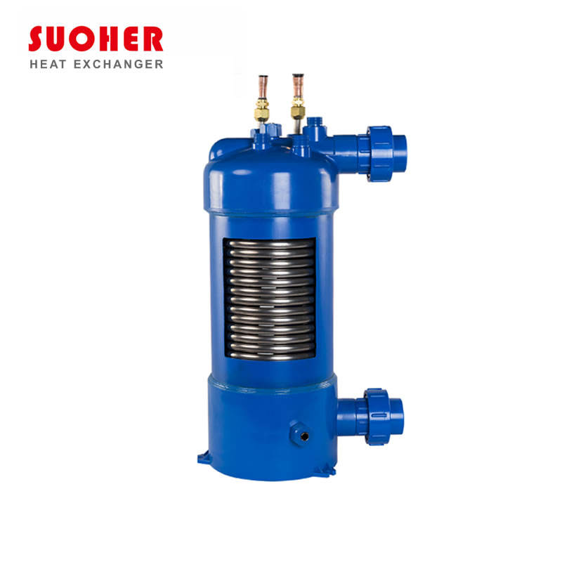 PVC shell heat exchanger condenser and evaporator with high anti-corrision titanium tube,cooling evaporator