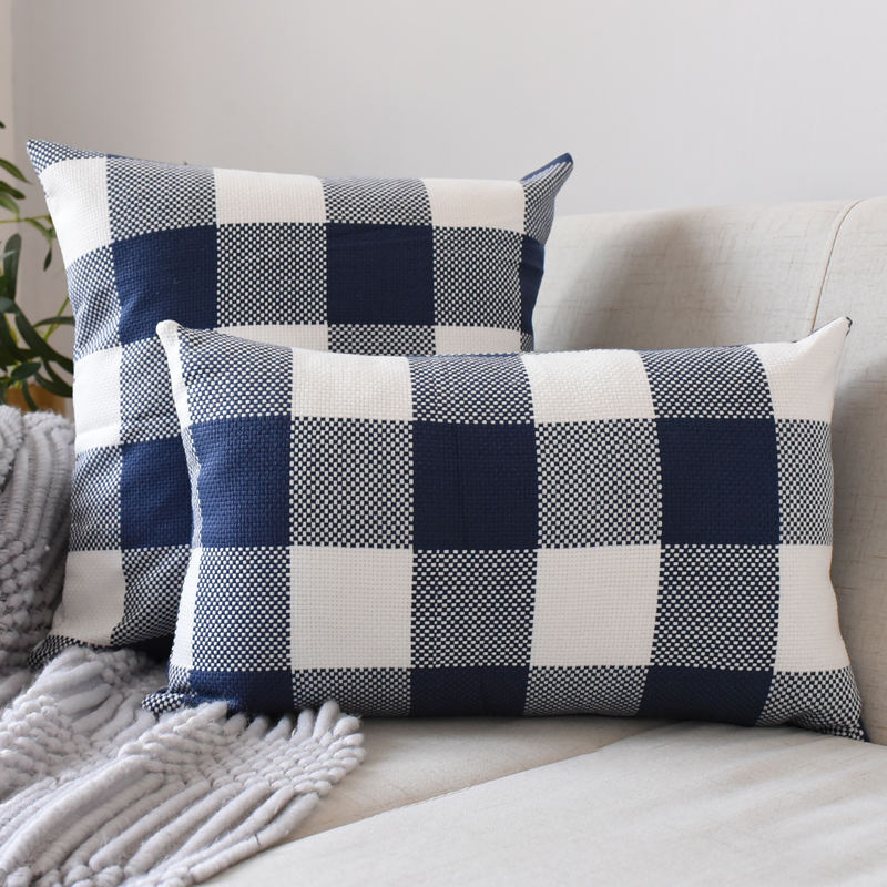 Decorative Classic Plaid Throw Pillow Covers Cotton Linen Modern Farmhouse Pillow Case Cushion Case for Sofa Bedroom Car 18 x 18