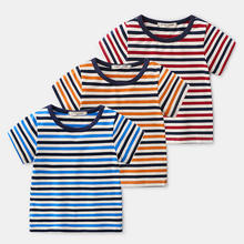 bulk wholesale kids clothing 100% Cotton Nature Color striped baby shirt toddler t shirt for child clothes