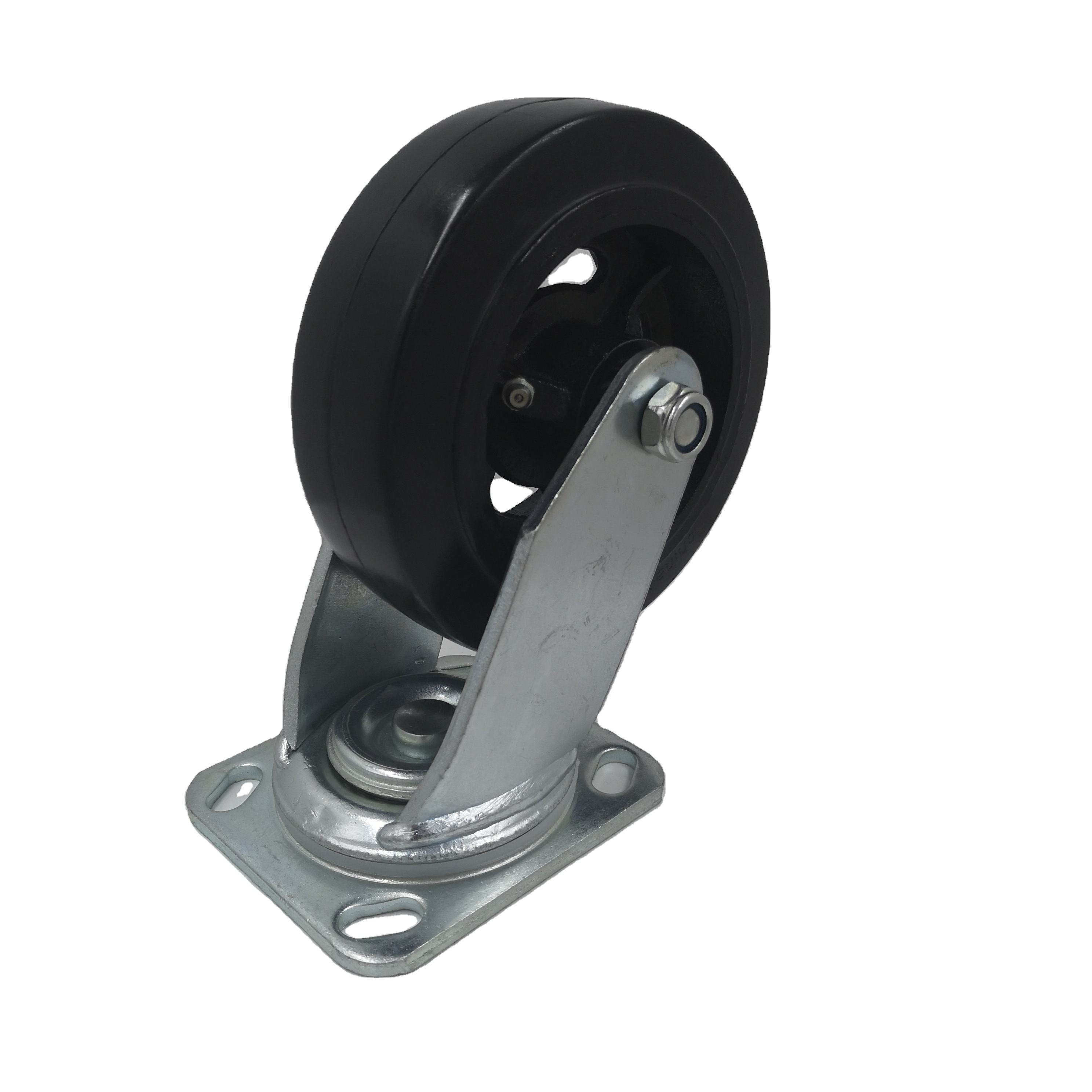 Zware <span class=keywords><strong>Gietijzeren</strong></span> Rubber Black Rotary Roller 6 Inch Wiel
