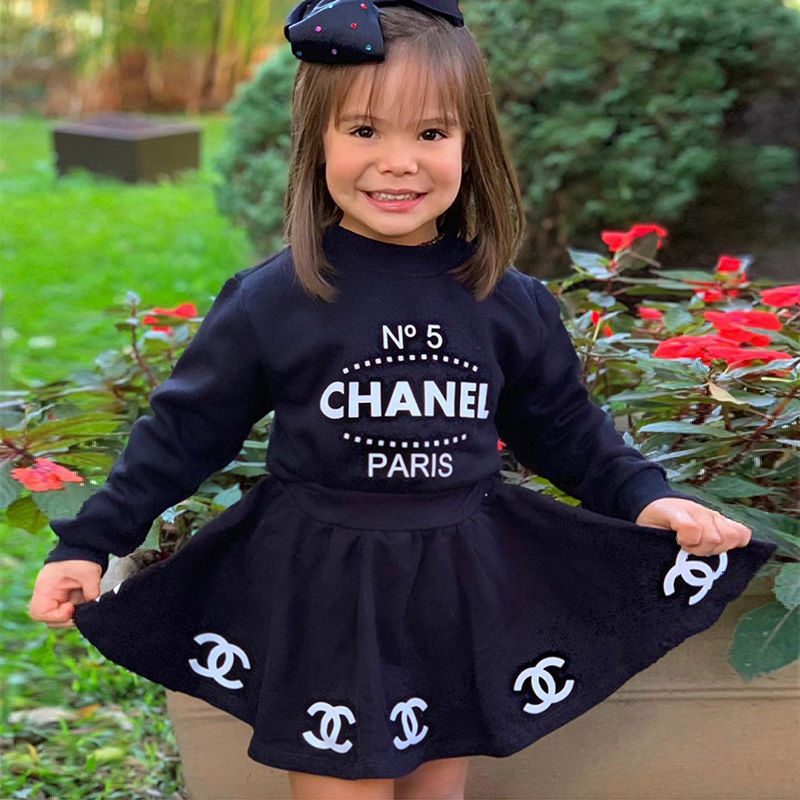 2021 New Children Girl's autumn Boutique Clothing Sets Cute letter Print Kids Girls Clothes